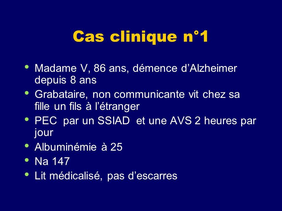 Cas clinique n°1 Madame V, 86 ans, démence dAlzheimer depuis 8 ans Grabataire, non communicante vit chez sa fille un fils à létranger PEC par un SSIAD