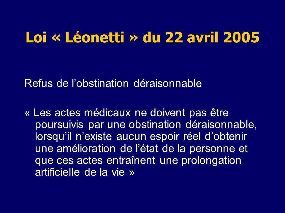 Loi « Léonetti » du 22 avril 2005 Refus de lobstination déraisonnable « Les actes médicaux ne doivent pas être poursuivis par une obstination déraison