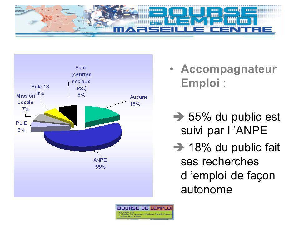 Accompagnateur Emploi : 55% du public est suivi par l ANPE 18% du public fait ses recherches d emploi de façon autonome