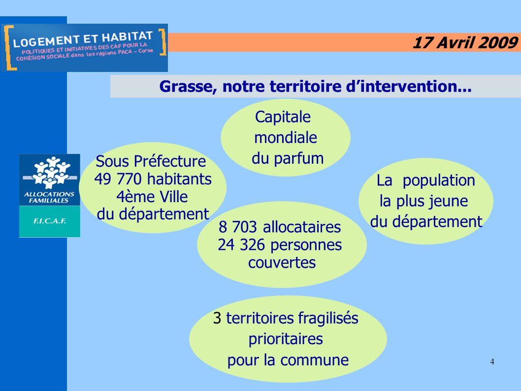 4 17 Avril 2009 Grasse, notre territoire dintervention... Capitale mondiale du parfum Sous Préfecture 49 770 habitants 4ème Ville du département 8 703