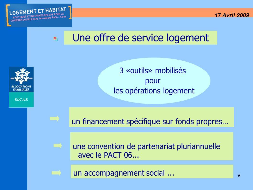 6 17 Avril 2009 Une offre de service logement 3 «outils» mobilisés pour les opérations logement un financement spécifique sur fonds propres… une conve