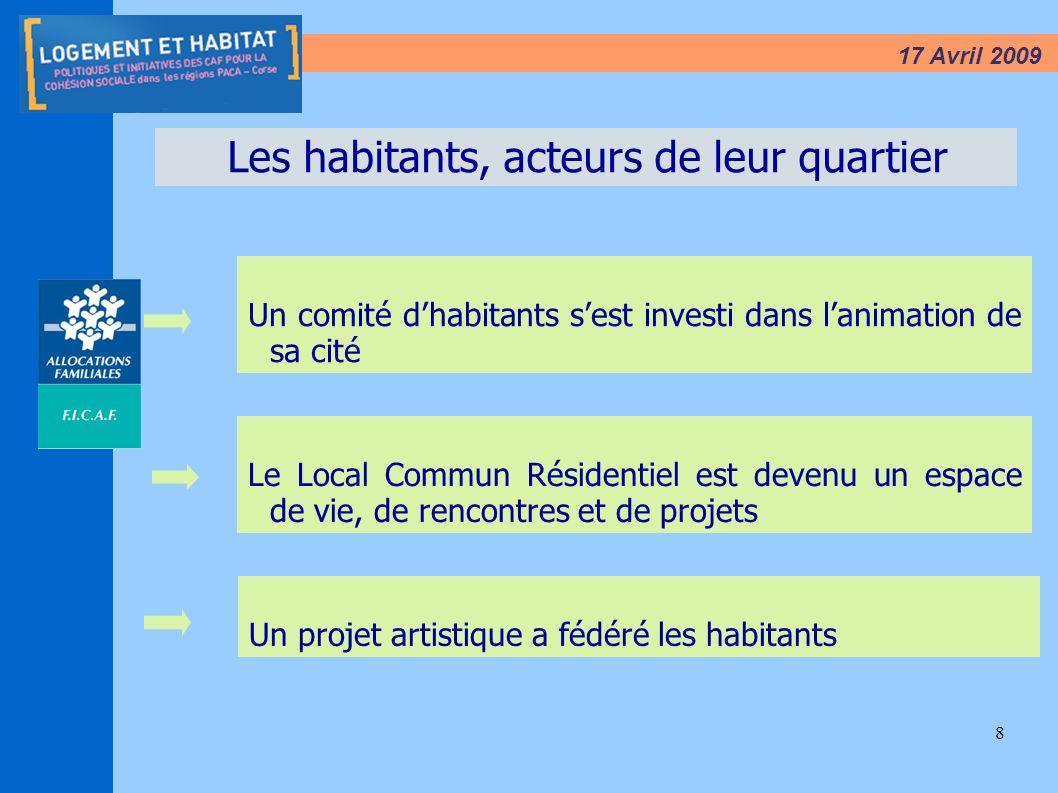 8 17 Avril 2009 Les habitants, acteurs de leur quartier Un comité dhabitants sest investi dans lanimation de sa cité Le Local Commun Résidentiel est d