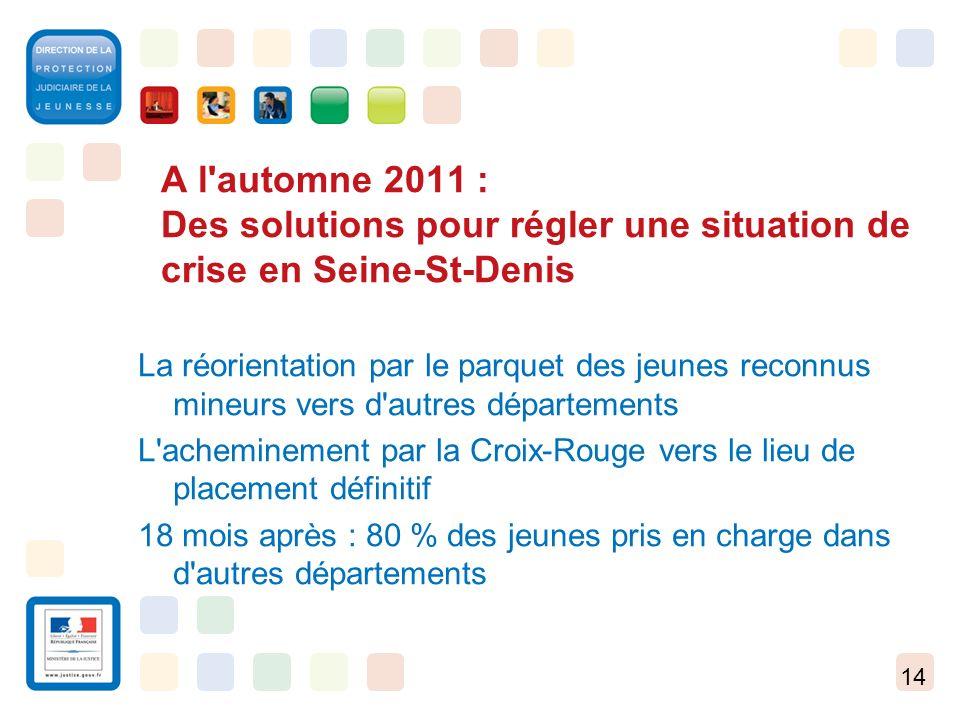 14 A l'automne 2011 : Des solutions pour régler une situation de crise en Seine-St-Denis La réorientation par le parquet des jeunes reconnus mineurs v