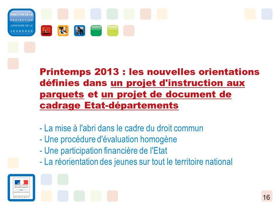 16 Printemps 2013 : les nouvelles orientations définies dans un projet d'instruction aux parquets et un projet de document de cadrage Etat-département
