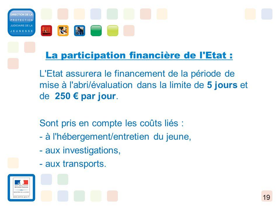 19 La participation financière de l'Etat : L'Etat assurera le financement de la période de mise à l'abri/évaluation dans la limite de 5 jours et de 25