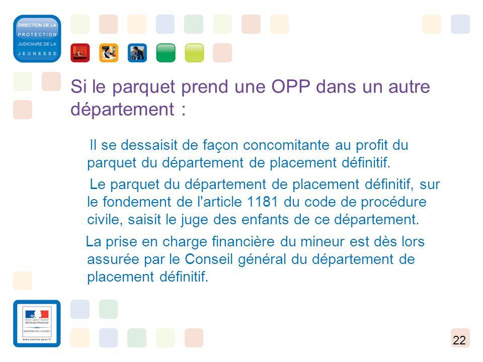 22 Si le parquet prend une OPP dans un autre département : Il se dessaisit de façon concomitante au profit du parquet du département de placement défi