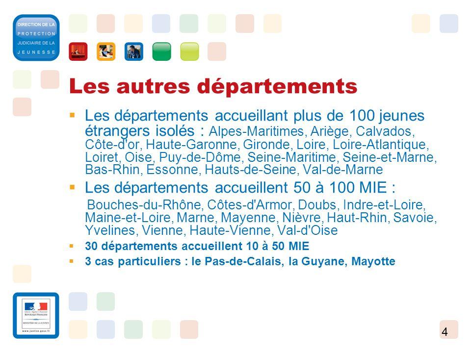 4 Les autres départements Les départements accueillant plus de 100 jeunes étrangers isolés : Alpes-Maritimes, Ariège, Calvados, Côte-d'or, Haute-Garon