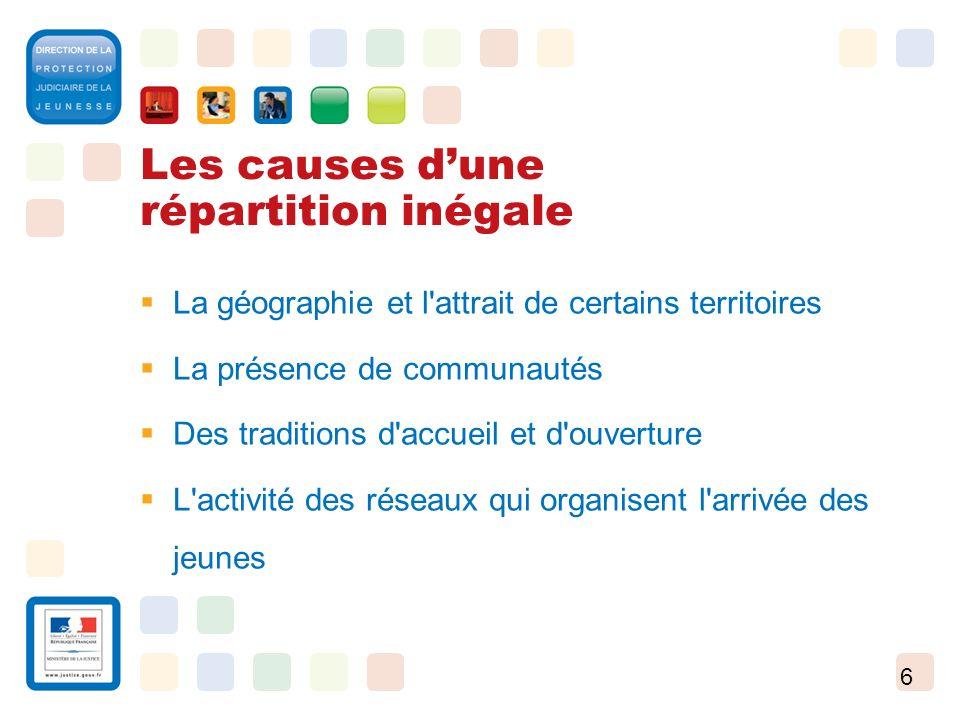 6 Les causes dune répartition inégale La géographie et l'attrait de certains territoires La présence de communautés Des traditions d'accueil et d'ouve