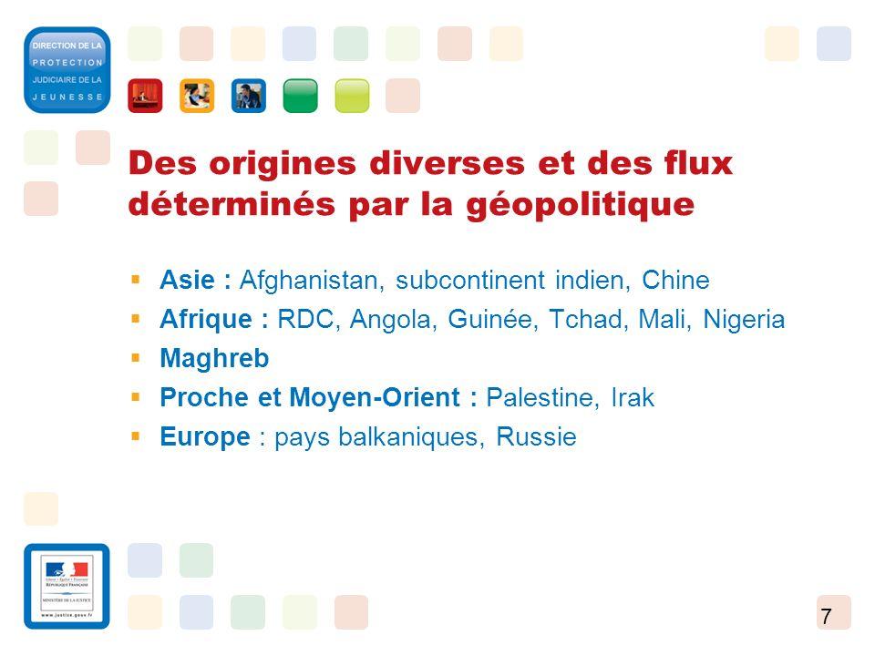7 Des origines diverses et des flux déterminés par la géopolitique Asie : Afghanistan, subcontinent indien, Chine Afrique : RDC, Angola, Guinée, Tchad