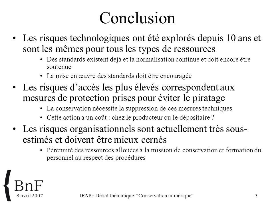 3 avril 2007IFAP - Débat thématique