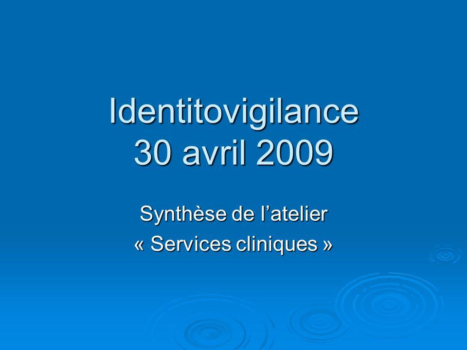 Identitovigilance 30 avril 2009 Synthèse de latelier « Services cliniques »