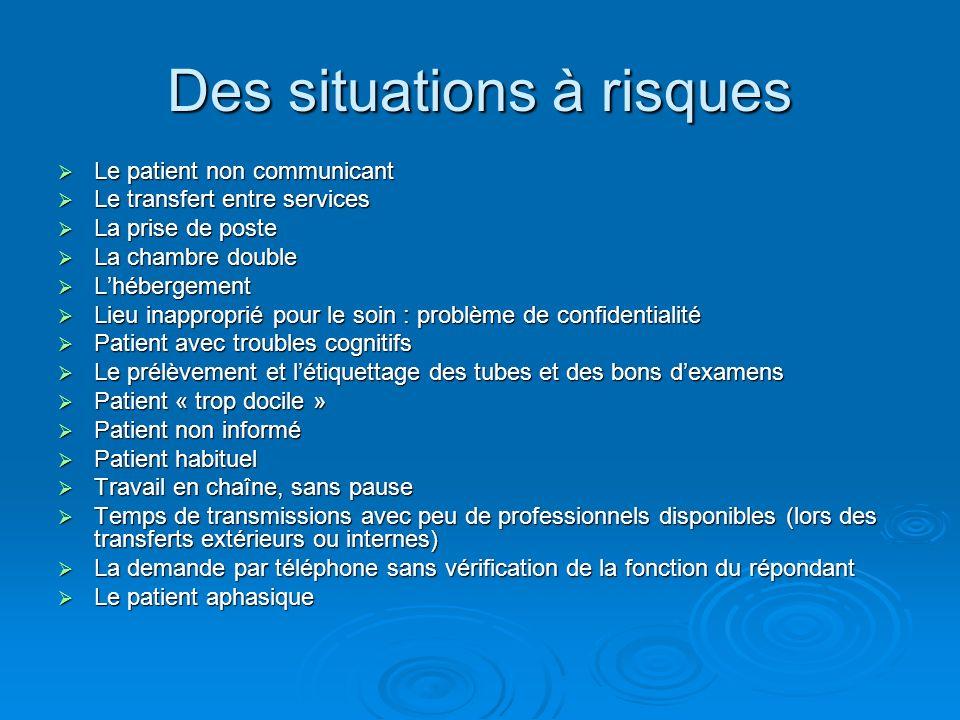 Des situations à risques Le patient non communicant Le patient non communicant Le transfert entre services Le transfert entre services La prise de pos