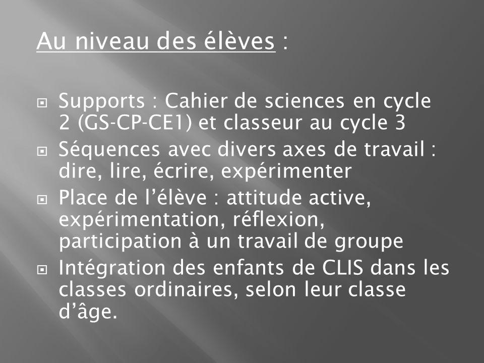 Au niveau des élèves : Supports : Cahier de sciences en cycle 2 (GS-CP-CE1) et classeur au cycle 3 Séquences avec divers axes de travail : dire, lire,