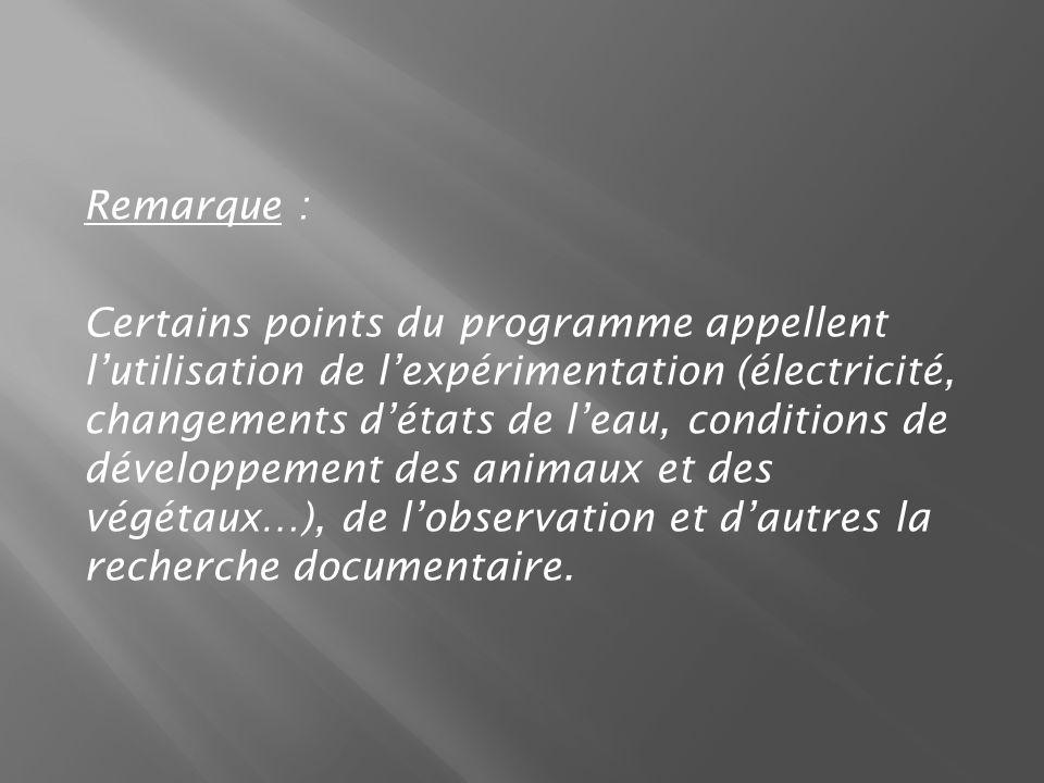 Remarque : Certains points du programme appellent lutilisation de lexpérimentation (électricité, changements détats de leau, conditions de développement des animaux et des végétaux…), de lobservation et dautres la recherche documentaire.