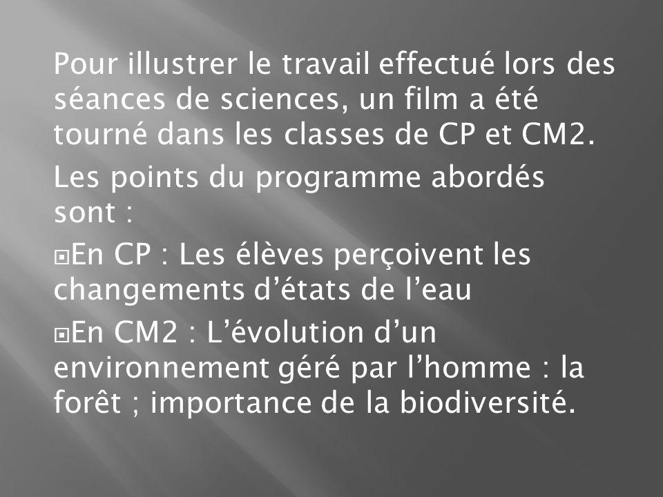 Pour illustrer le travail effectué lors des séances de sciences, un film a été tourné dans les classes de CP et CM2. Les points du programme abordés s