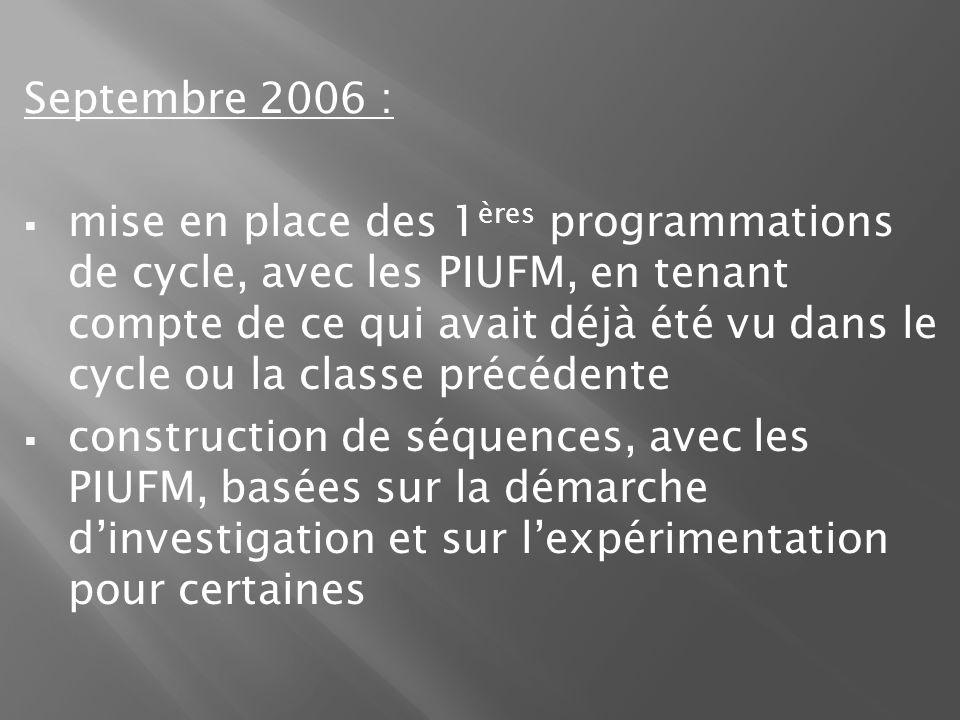 Septembre 2006 : mise en place des 1 ères programmations de cycle, avec les PIUFM, en tenant compte de ce qui avait déjà été vu dans le cycle ou la classe précédente construction de séquences, avec les PIUFM, basées sur la démarche dinvestigation et sur lexpérimentation pour certaines