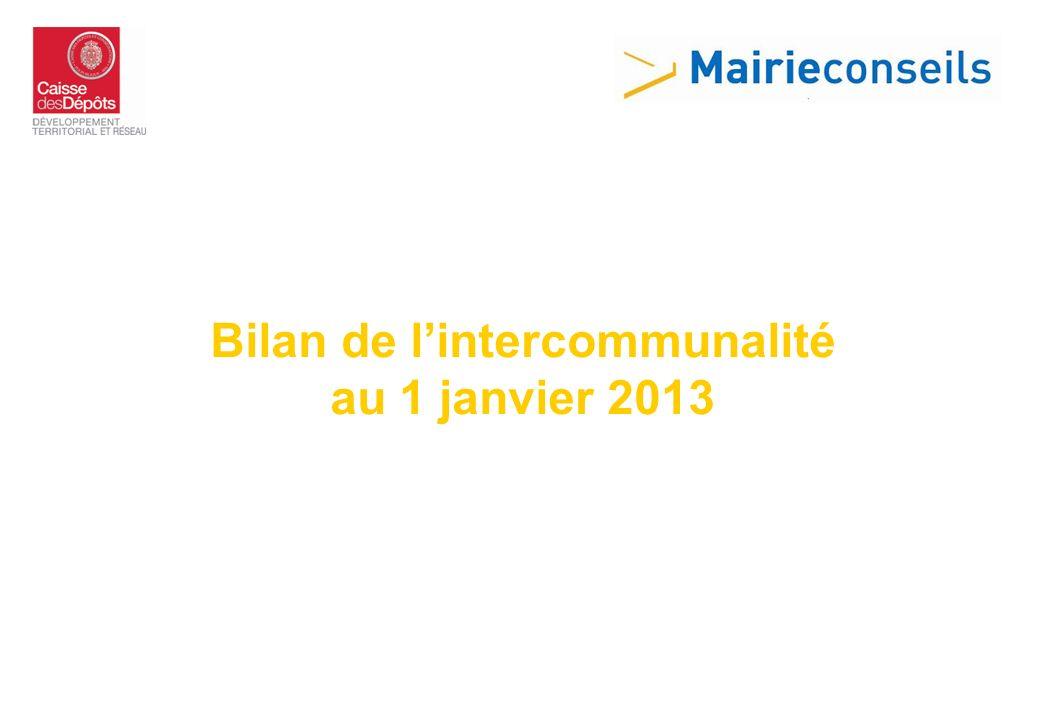 Bilan de lintercommunalité au 1 janvier 2013