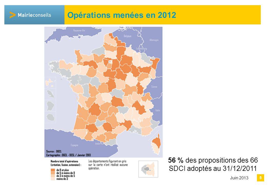 Avril 2013 5 Opérations menées en 2012 Juin 2013 56 % des propositions des 66 SDCI adoptés au 31/12/2011