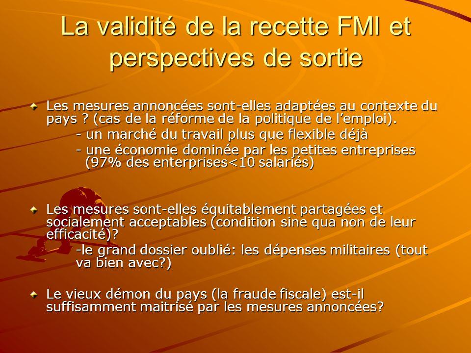 La validité de la recette FMI et perspectives de sortie Les mesures annoncées sont-elles adaptées au contexte du pays ? (cas de la réforme de la polit