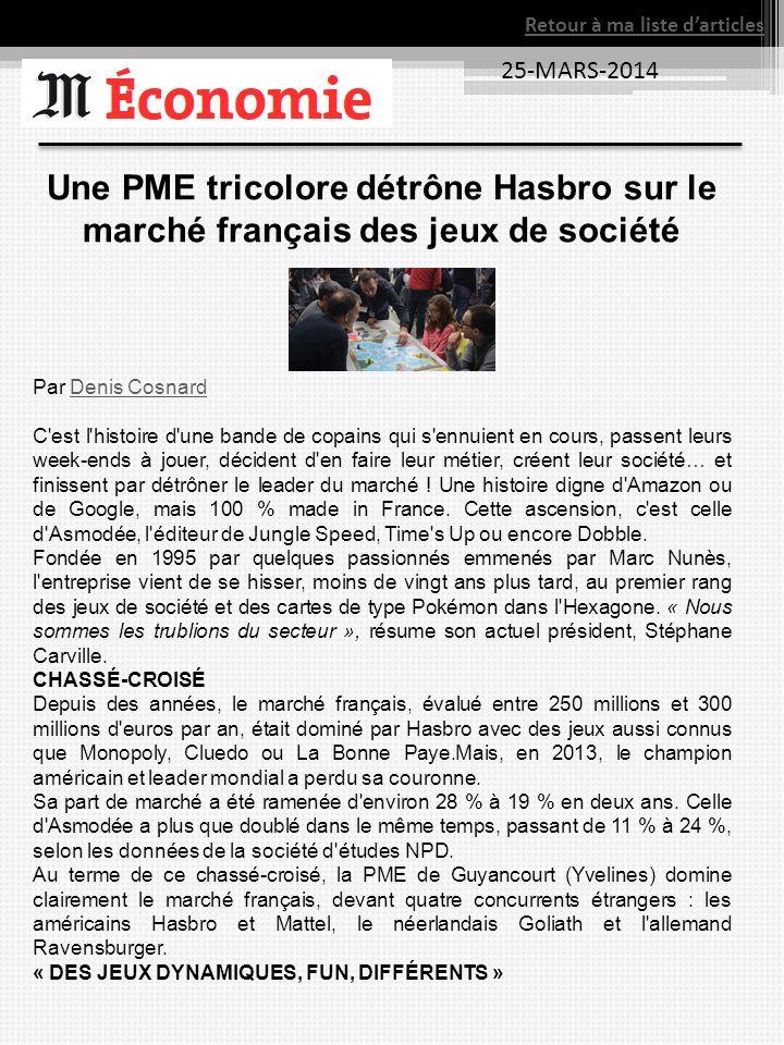 25-MARS-2014 Retour à ma liste darticles Une PME tricolore détrône Hasbro sur le marché français des jeux de société Par Denis CosnardDenis Cosnard C'