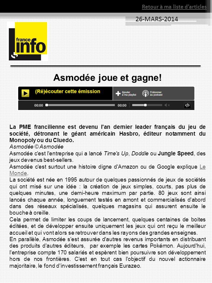 Asmodée joue et gagne! La PME francilienne est devenu l'an dernier leader français du jeu de société, détronant le géant américain Hasbro, éditeur not