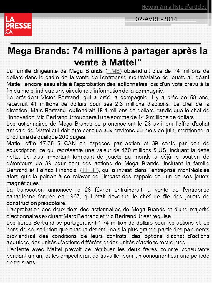 02-AVRIL-2014 Retour à ma liste darticles Mega Brands: 74 millions à partager après la vente à Mattel