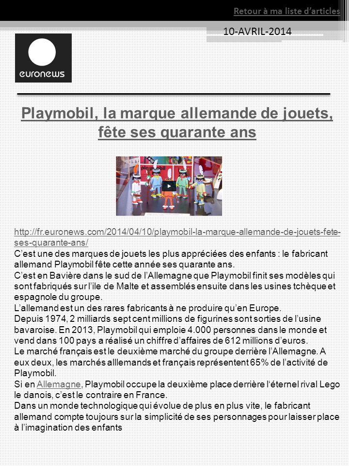 10-AVRIL-2014 Retour à ma liste darticles Playmobil, la marque allemande de jouets, fête ses quarante ans http://fr.euronews.com/2014/04/10/playmobil-