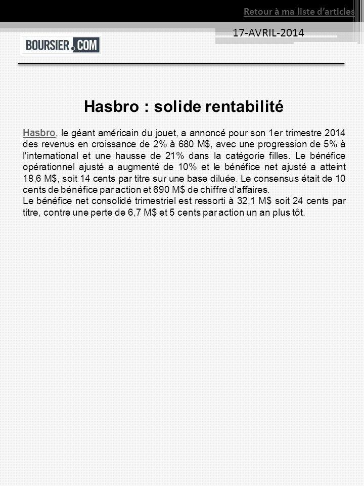 17-AVRIL-2014 Retour à ma liste darticles Hasbro : solide rentabilité HasbroHasbro, le géant américain du jouet, a annoncé pour son 1er trimestre 2014