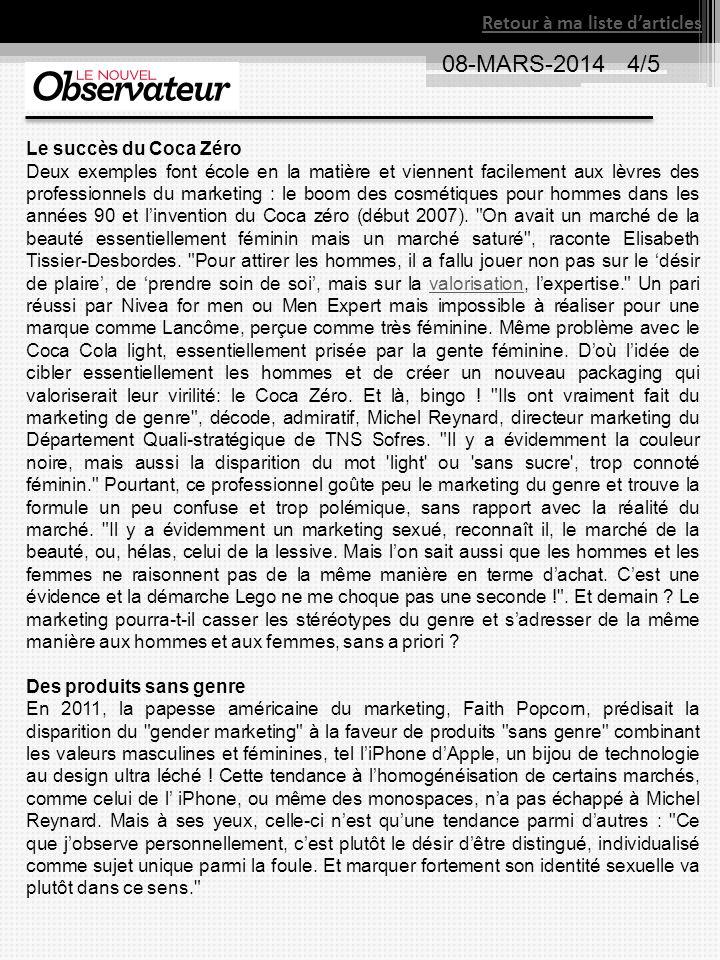 Retour à ma liste darticles 08-MARS-2014 4/5 Le succès du Coca Zéro Deux exemples font école en la matière et viennent facilement aux lèvres des profe