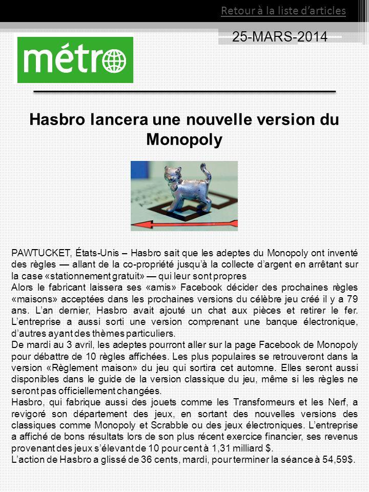 25-MARS-2014 Retour à la liste darticles Hasbro lancera une nouvelle version du Monopoly PAWTUCKET, États-Unis – Hasbro sait que les adeptes du Monopo
