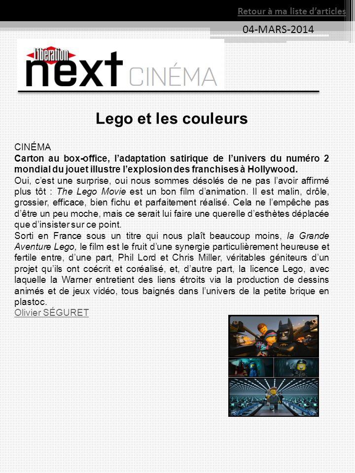 04-MARS-2014 Retour à ma liste darticles Lego et les couleurs CINÉMA Carton au box-office, ladaptation satirique de lunivers du numéro 2 mondial du jo