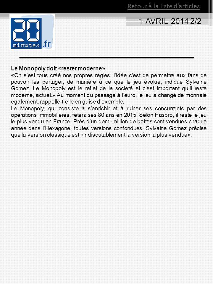 1-AVRIL-2014 2/2 Retour à la liste darticles Le Monopoly doit «rester moderne» «On sest tous créé nos propres règles, lidée cest de permettre aux fans