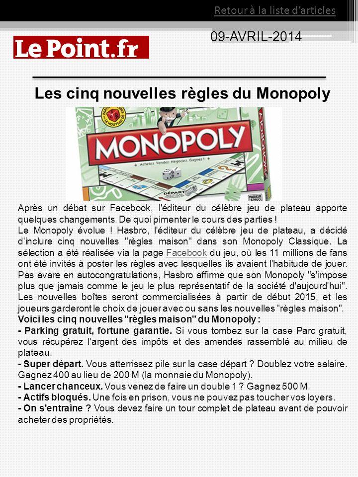 09-AVRIL-2014 Retour à la liste darticles Les cinq nouvelles règles du Monopoly Après un débat sur Facebook, l'éditeur du célèbre jeu de plateau appor