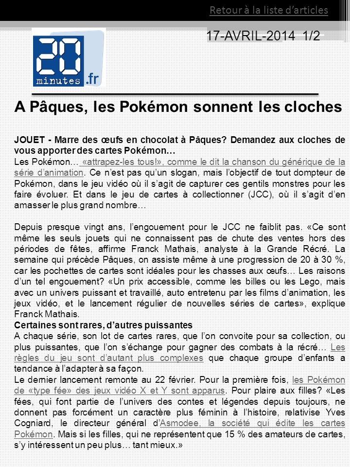 17-AVRIL-2014 1/2 Retour à la liste darticles A Pâques, les Pokémon sonnent les cloches JOUET - Marre des œufs en chocolat à Pâques? Demandez aux cloc