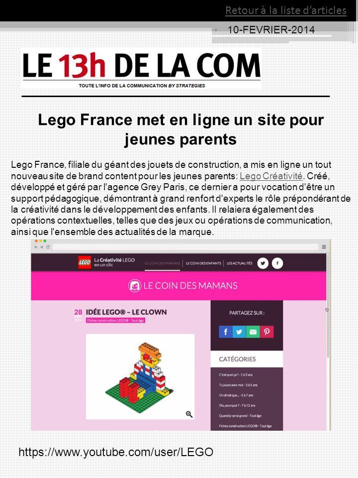10-FEVRIER-2014 Retour à la liste darticles Lego France met en ligne un site pour jeunes parents Lego France, filiale du géant des jouets de construct