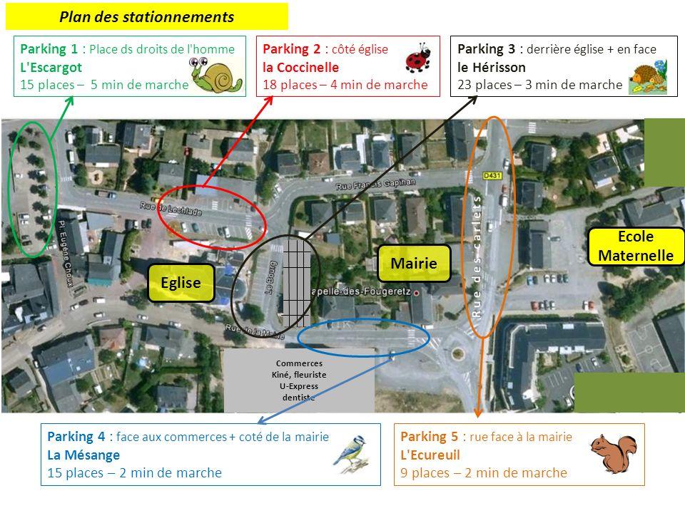 Parking 1 : Place ds droits de l homme L Escargot 15 places – 5 min de marche Parking 3 : derrière église + en face le Hérisson 23 places – 3 min de marche Commerces Kiné, fleuriste U-Express dentiste Parking 2 : côté église la Coccinelle 18 places – 4 min de marche Parking 4 : face aux commerces + coté de la mairie La Mésange 15 places – 2 min de marche Parking 5 : rue face à la mairie L Ecureuil 9 places – 2 min de marche Ecole Maternelle Plan des stationnements Mairie Eglise