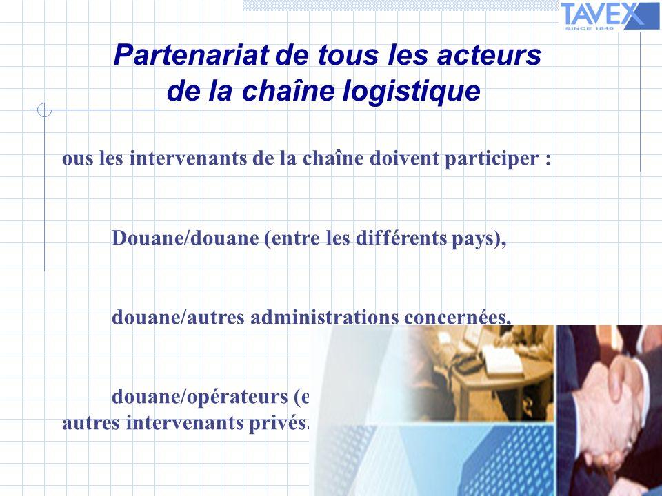 T ous les intervenants de la chaîne doivent participer : - Douane/douane (entre les différents pays), - douane/autres administrations concernées, - douane/opérateurs (entreprises, transporteurs, agents, autres intervenants privés… Partenariat de tous les acteurs de la chaîne logistique