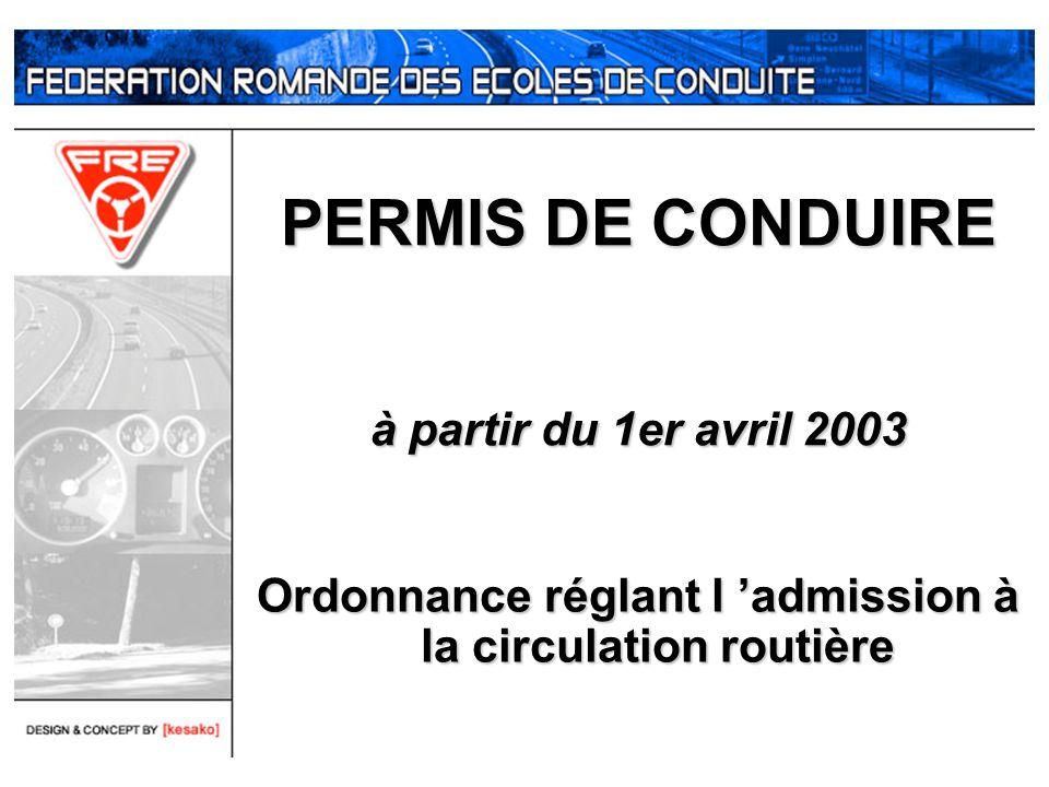 PERMIS DE CONDUIRE à partir du 1er avril 2003 Ordonnance réglant l admission à la circulation routière