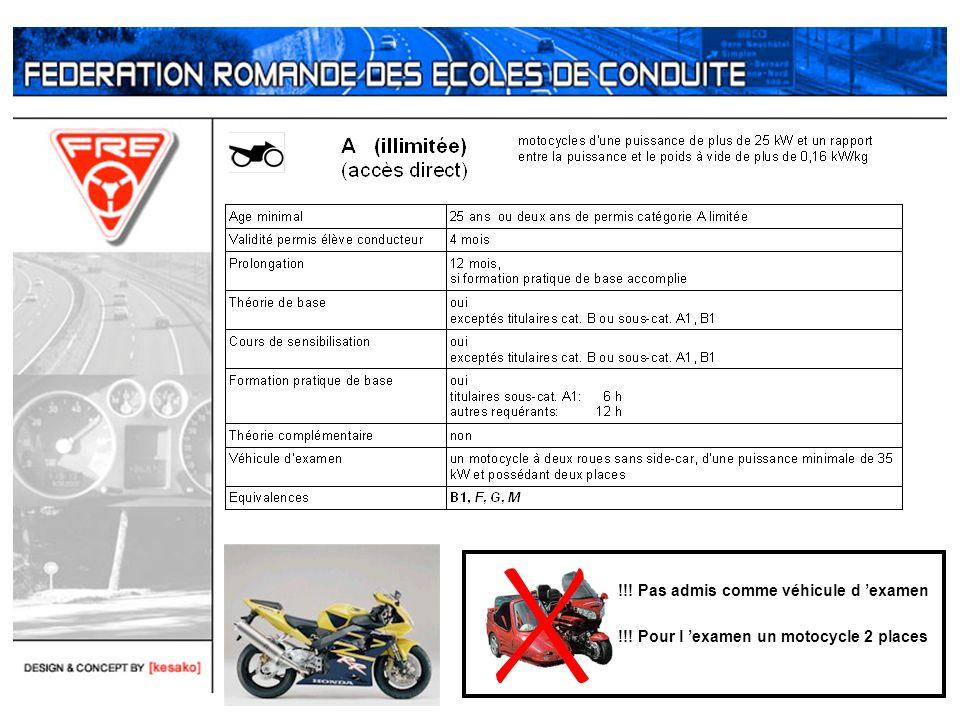 !!! Pas admis comme véhicule d examen !!! Pour l examen un motocycle 2 places