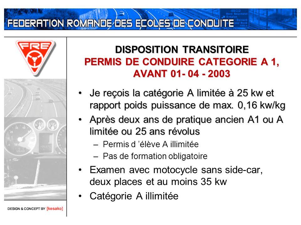 DISPOSITION TRANSITOIRE PERMIS DE CONDUIRE CATEGORIE A 1, AVANT 01- 04 - 2003 Je reçois la catégorie A limitée à 25 kw et rapport poids puissance de m