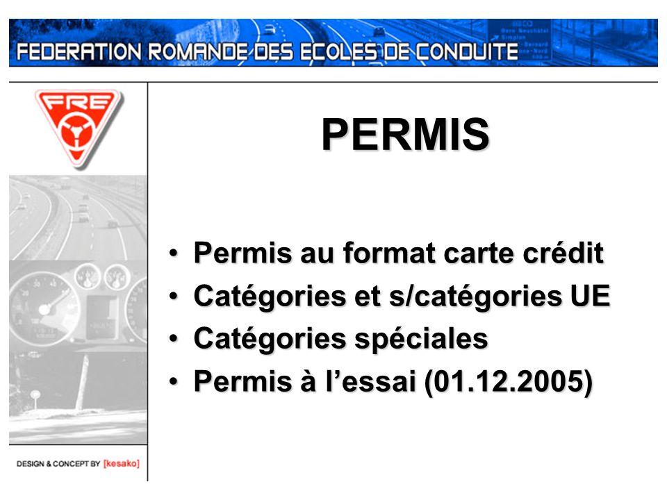 PERMIS Permis au format carte créditPermis au format carte crédit Catégories et s/catégories UECatégories et s/catégories UE Catégories spécialesCatég
