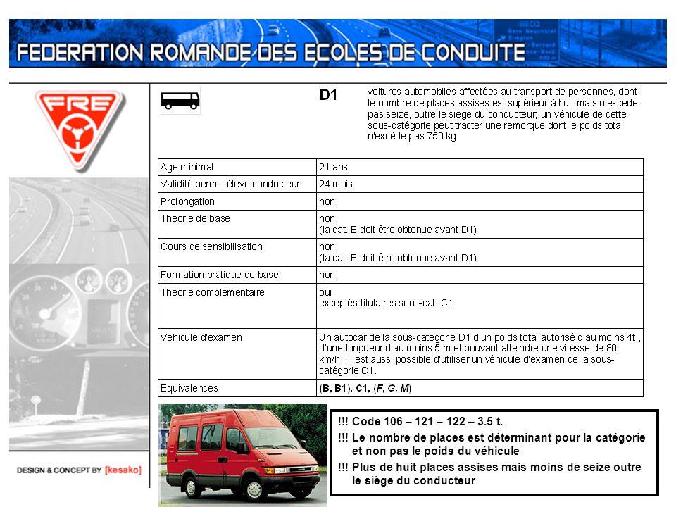 !!! Code 106 – 121 – 122 – 3.5 t. !!! Le nombre de places est déterminant pour la catégorie et non pas le poids du véhicule !!! Plus de huit places as