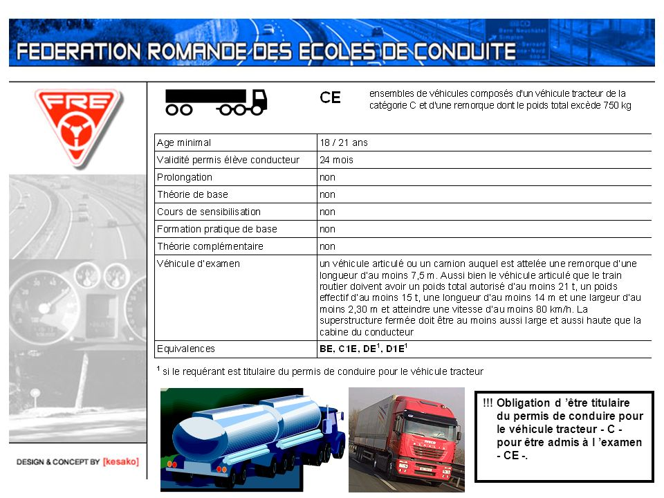 !!! Obligation d être titulaire du permis de conduire pour le véhicule tracteur - C - pour être admis à l examen - CE -.