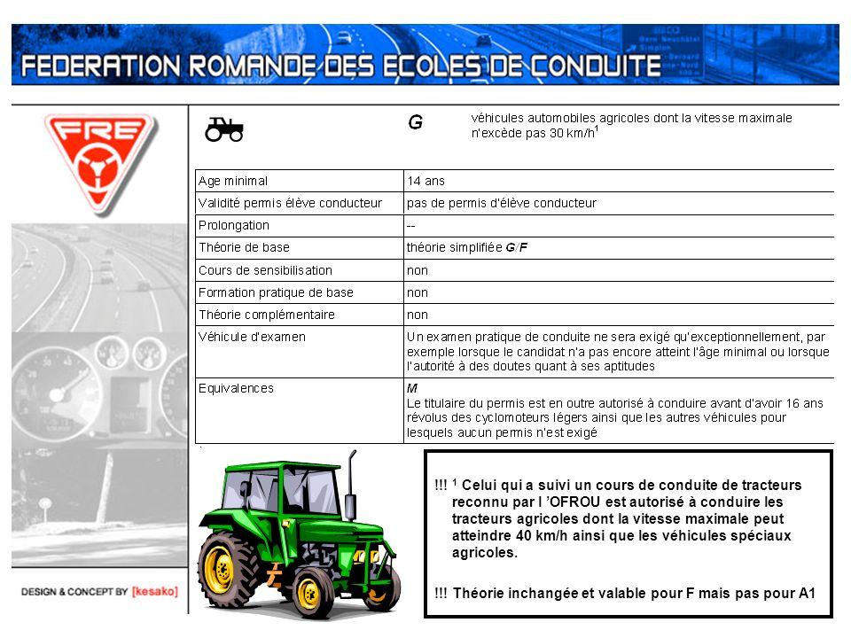 !!! 1 Celui qui a suivi un cours de conduite de tracteurs reconnu par l OFROU est autorisé à conduire les tracteurs agricoles dont la vitesse maximale