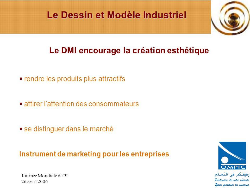 Journée Mondiale de PI 26 avril 2006 Le DMI encourage la création esthétique rendre les produits plus attractifs attirer lattention des consommateurs