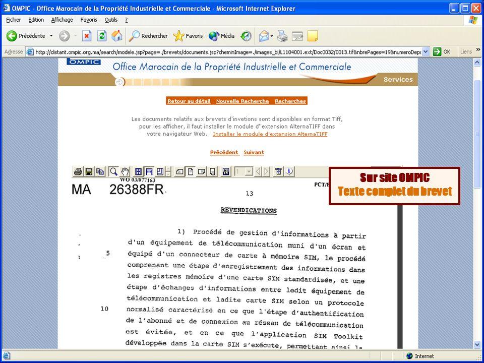 Sur site OMPIC Texte complet du brevet