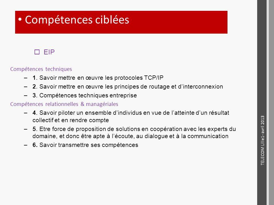 Compétences techniques –1. Savoir mettre en œuvre les protocoles TCP/IP –2. Savoir mettre en œuvre les principes de routage et dinterconnexion –3. Com
