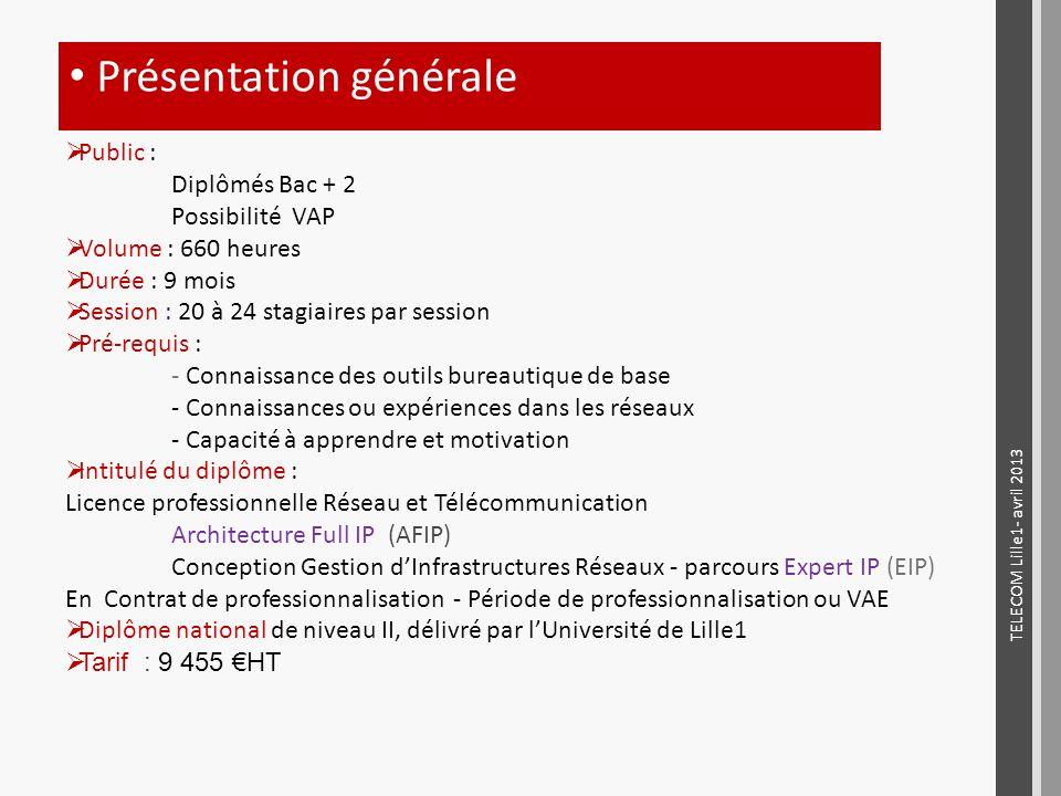 Présentation générale TELECOM Lille1- avril 2013 Public : Diplômés Bac + 2 Possibilité VAP Volume : 660 heures Durée : 9 mois Session : 20 à 24 stagia