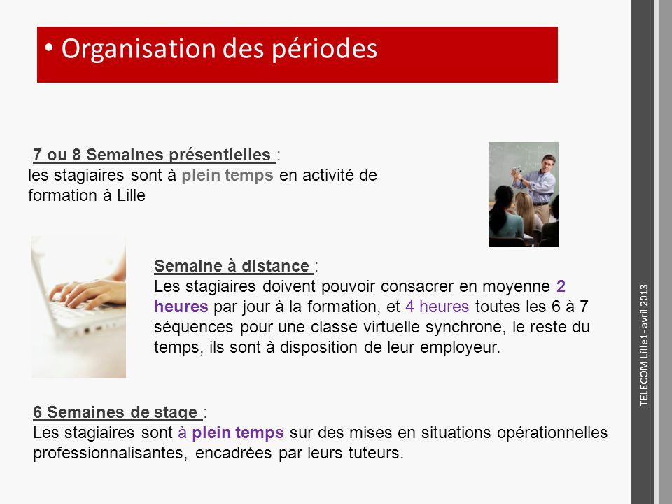 7 ou 8 Semaines présentielles : les stagiaires sont à plein temps en activité de formation à Lille Semaine à distance : Les stagiaires doivent pouvoir