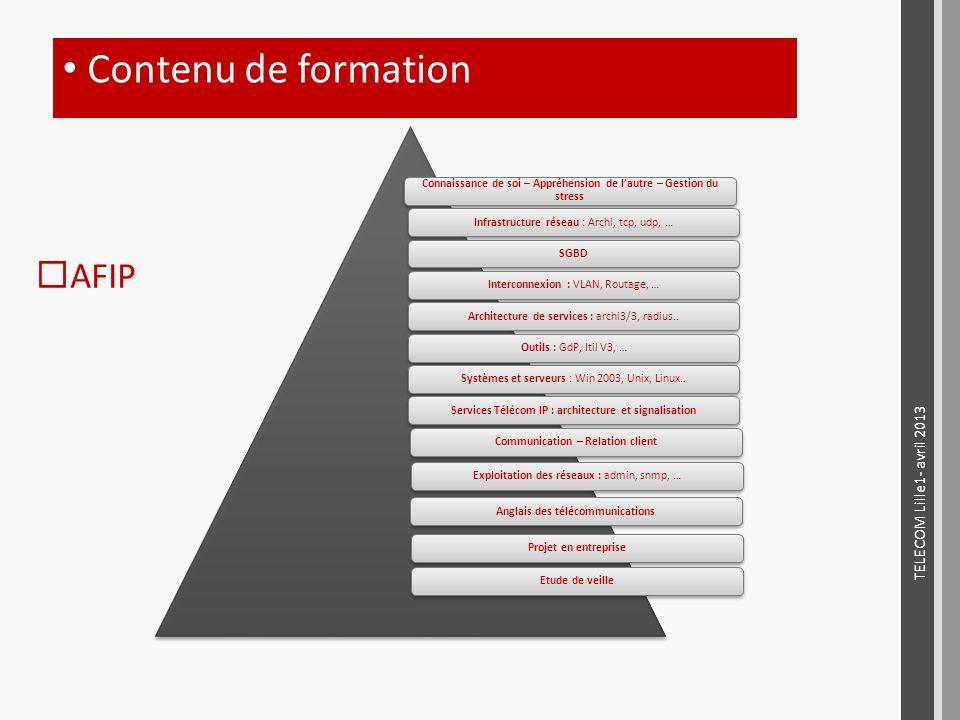 AFIP Contenu de formation Connaissance de soi – Appréhension de lautre – Gestion du stress Infrastructure réseau : Archi, tcp, udp, …SGBDInterconnexio